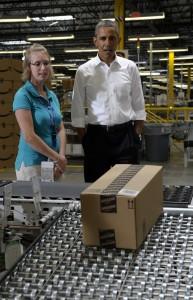 President Obama visits an Amazon warehouse