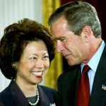 Elaine Chao and then president George Bush