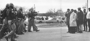 The confrontation begins at Edmund Pettus Bridge